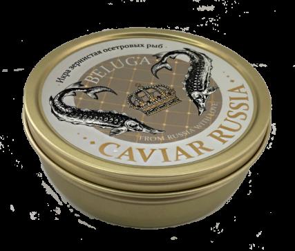 Икра зернистая осетровых рыб (белуги) «CAVIAR RUSSIA BELUGA»   ж/б 250гр